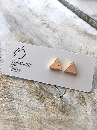 MOONLIGHT FOR VIOLET 'Peach Granite' Triangle Earrings MVT06