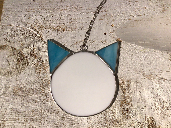 TAMARA STEINBORN - blue + white - cat head