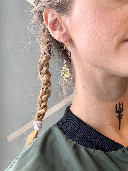 Black Hoop with Brass Snake Earrings FEA30