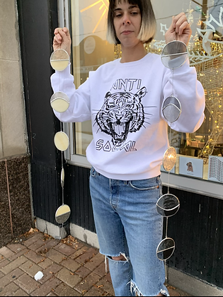 Anti-Social Tiger sweatshirt - white and black SW06