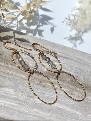 KINDRED (house line) Faceted Labradorite Goldfilled Earrings