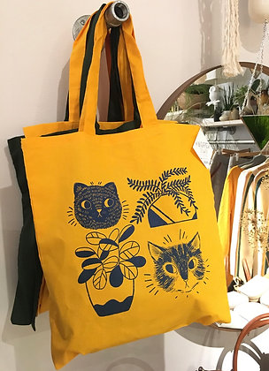 SCATTERBEE  cats and plants tote