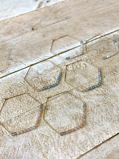 Large Hexagon Hoops with Austrian Crystals FEA04
