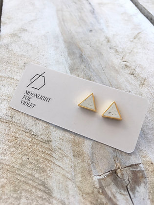 MOONLIGHT FOR VIOLET White Triangle Earrings w/ Gold Flecks