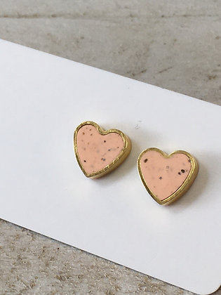 MOONLIGHT FOR VIOLET pale pink hearts w/ speckles earrings