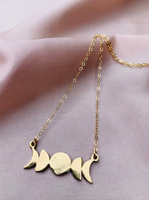 JUNO ~ Moonphase Necklace in Bronze or Sterling