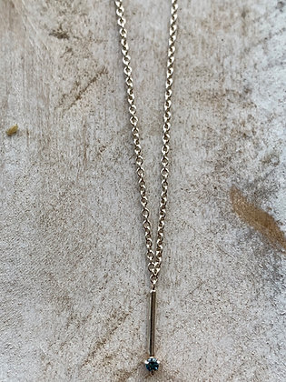 STERLING & Blue Sapphire Bar Necklace