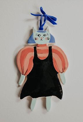 "MEG DOES POTTERY ""Mimi Cat"" black suspenders HG35 (does not ship)"