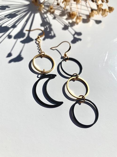 >>>Luna - Mixed Metal Brass Earrings<<<