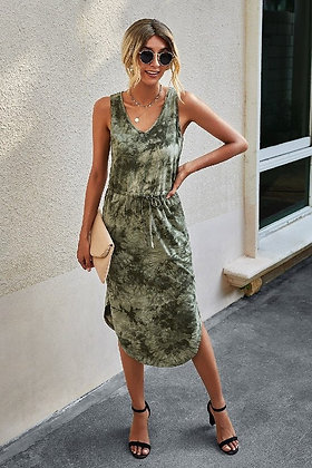 Marble Printed Sleveless Midi Dress - Green DR04