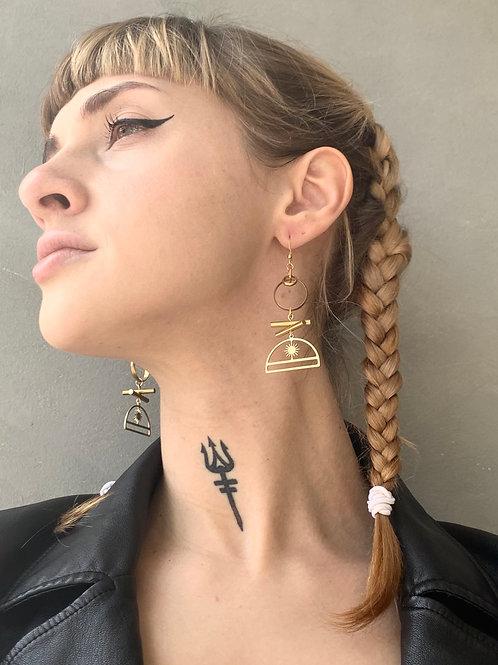 Brass Bars+Loop and Arc Earrings FEA28