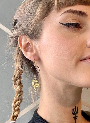 FRÜG Black Hoop with Brass Snake Earrings FEA30