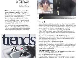 Trends Magazine Interviews Früg Jewellery Designer, Tamara Steinborn, for Aug. 2017 Issue
