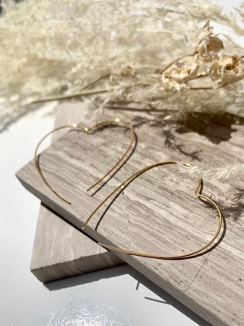 'Dilma' Brass or Silverplate Wire Heart Earrings FE59