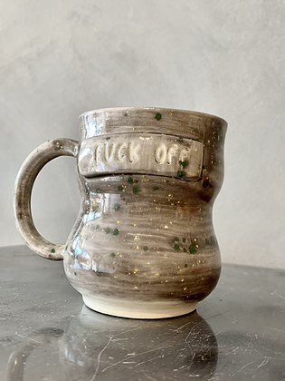 MOSELLE ANDERSON Grey F. OFF Mug w Green/Yellow Speckled  FOFF5