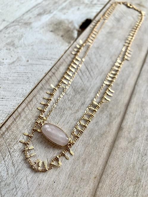 Double Strand Necklace with Rose  Quartz Pendant FNA12