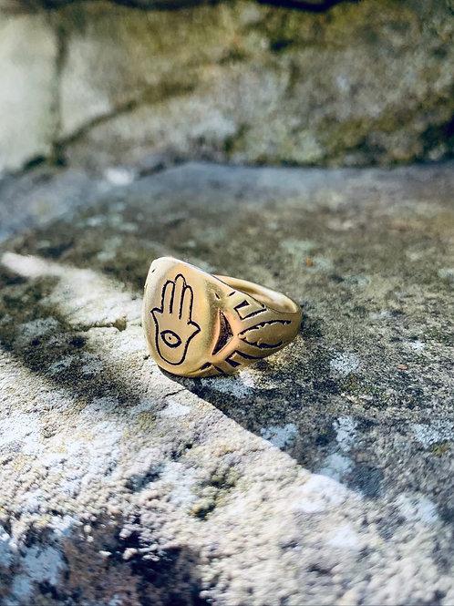 DEVI ~  Hamsa Signet Ring in Bronze or Sterling