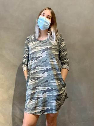 Loose Fit 3/4 Sleeve Raglan Dress - Camouflage DR09