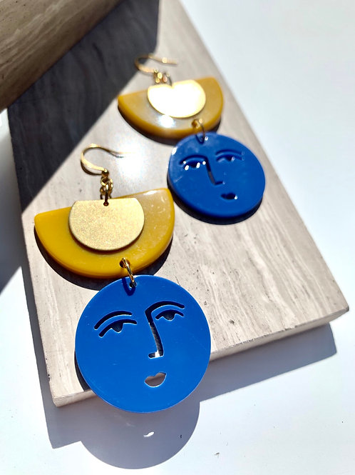 Arlo - Acrylic Abstract Face Earrings