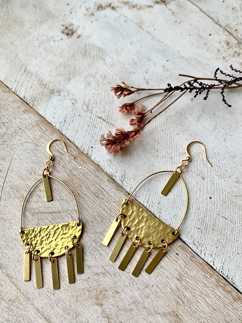 Brass Semicircle with Hanging Bars Earrings FEA63
