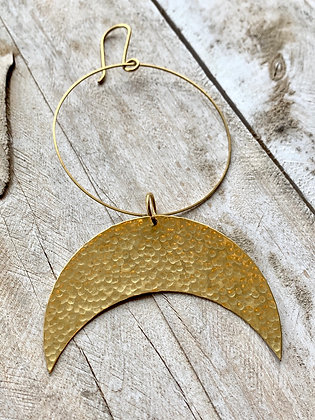 TAMARA STEINBORN Hammered Brass Crescent Moon Wall Hanging