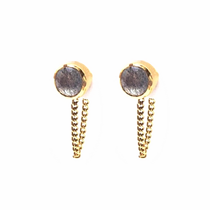 SARASWATI 'Una Earrings' 14k Gold Vermeil + Labradorite SWE11