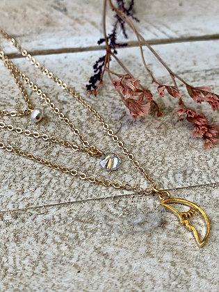 FRÜG Triple Strand Moon + Crystal + Pearl Necklace  FNA08