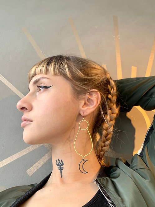 Brass Hoop and Black Moon Earrings FEA33