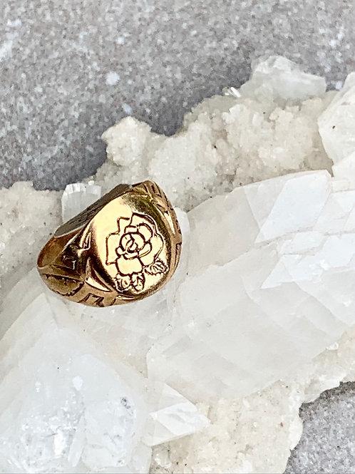 SIGRUN ~ Rose Signet Ring in Bronze or Sterling