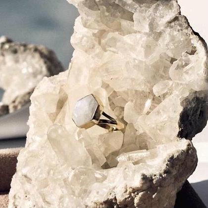 SARASWATI 'Honeybee Ring' 14k Gold Vermeil + Moonstone SWR11
