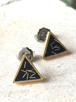 MOONLIGHT FOR VIOLET Black Triangle Earrings with Gold Flecks