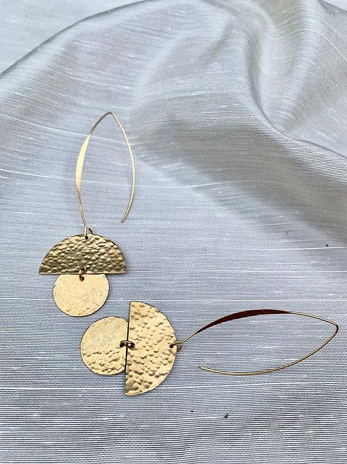 Goldplate Hammered Brass Earrings FEA59