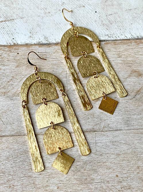 Long Smooth Brass Dangle Earrings FEA51