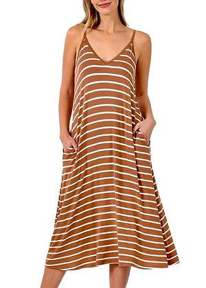 Striped Spaghetti Strap Flowy Dress - Peach DR10