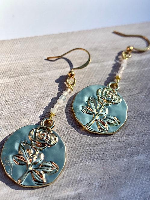 'Lumi' Embossed Rose Disc Earrings FE36