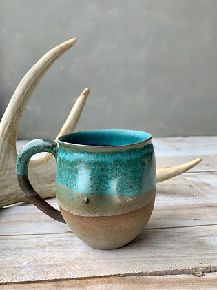 MOSELLE Teal + Brown Ombré Masectomy Mug BOOB4 (does not ship)