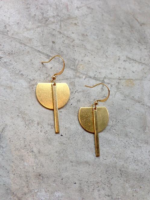 Frug jewellery delicate brass crescent earrings