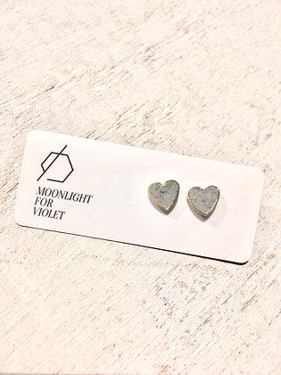 MOONLIGHT FOR VIOLET 'Granite' Heart Earrings MVH08