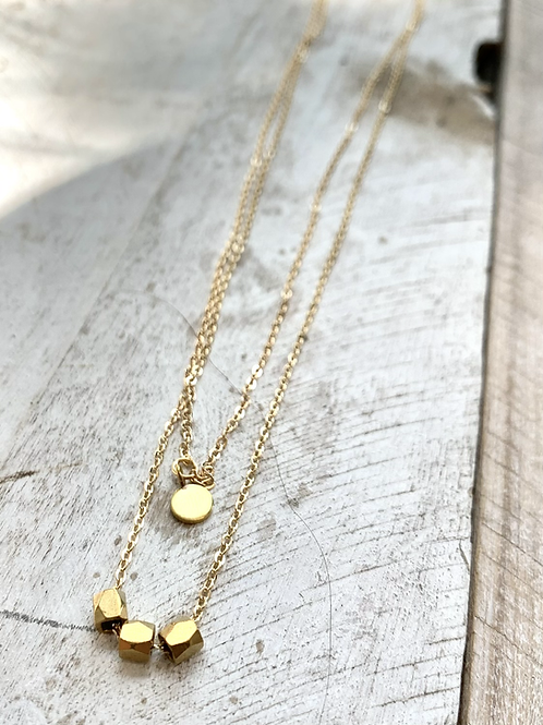 Double Strand Necklace with Brass Beads FNA100
