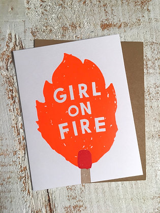 Girl on Fire 🔥 greeting card