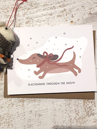 Dachshund Through the Snow Xmas card