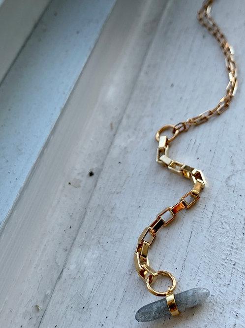 Vintage Chain + Labradorite Spear Necklace FNA31