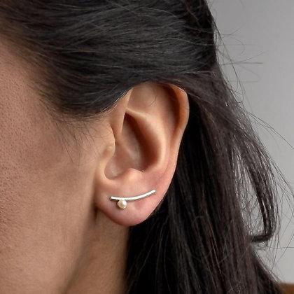SARASWATI 'Nymph Ear Climbers' Sterling + White Pearl SWE14