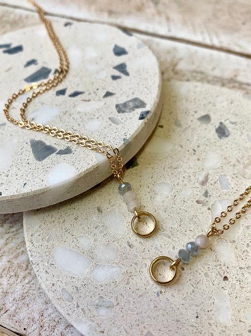 Crystal + Moonstone with Brass Loop Necklace Set FNA12SET