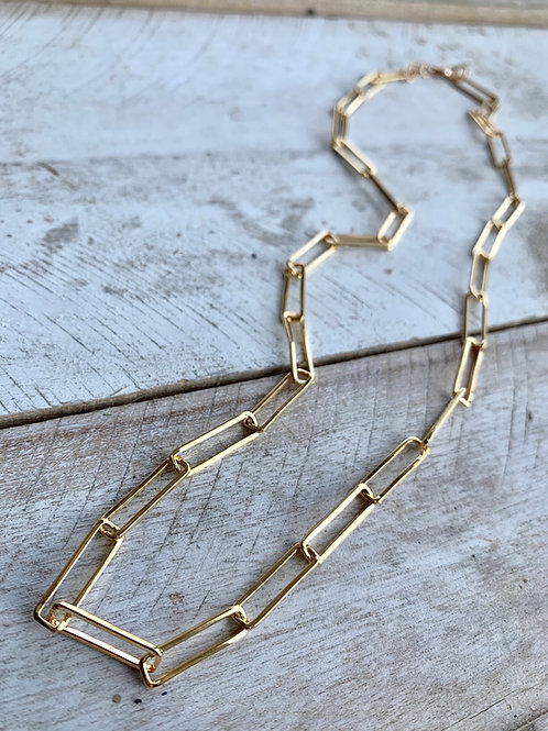Large Brass Rectangle Link Chain FNA61