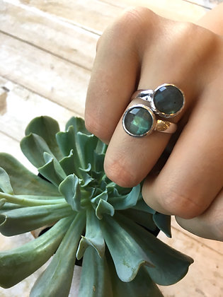 STERLING Double Labradorite Ring