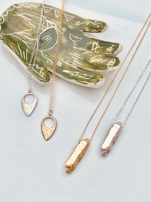 SHARD ~ Quartz Shard Necklace in Bronze or Sterling
