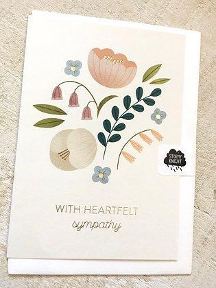 With Heartfelt Sympathy gold foil card CR54