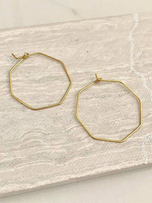'Hex' Brass Wire Hoops FE56