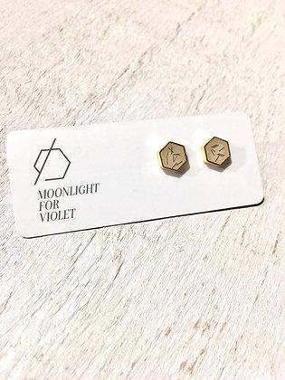 MOONLIGHT FOR VIOLET 'Confetti Cream' Hexagon Earrings MVH01